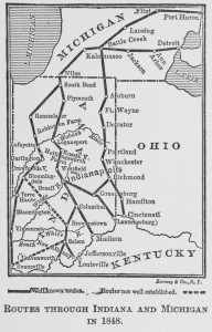 1848 map of UGRR routes showing the route of the Escape of the 28 from Cincinnati to Canada