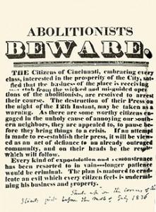 1836 Handbill in Cincinnati